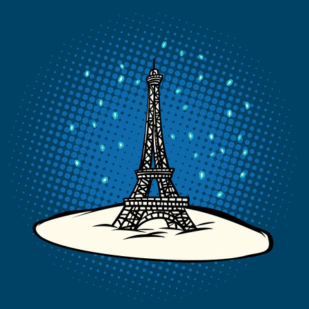 Eiffel tower in winter snowing. Pop art retro vector illustration.