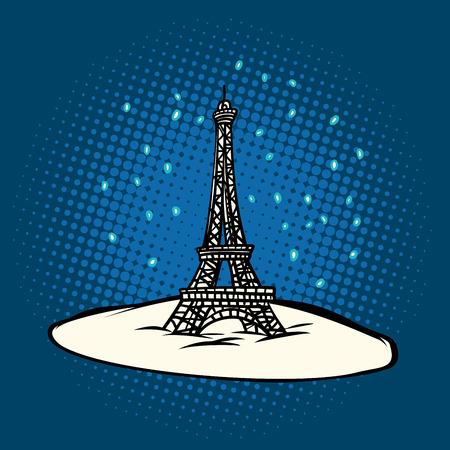 Tour Eiffel en hiver neige. Illustration vectorielle rétro pop art. Banque d'images - 92232699