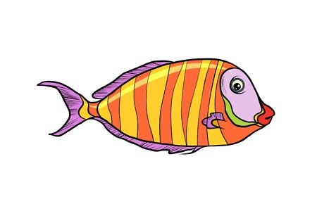 시 클 리드 수족관 물고기입니다. 흰색 배경에 고립. 팝 아트 복고풍 벡터 일러스트 레이 션. 일러스트