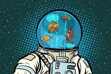 Astronaut with helmet aquarium with fish. Pop art retro vector illustration. Çizim