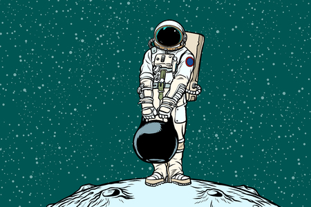 Astronaut with cargo weights. Pop art retro vector illustration.
