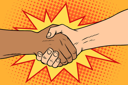 Handshake black and white, African and Caucasian people
