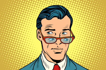 Double view, a man in glasses Illustration