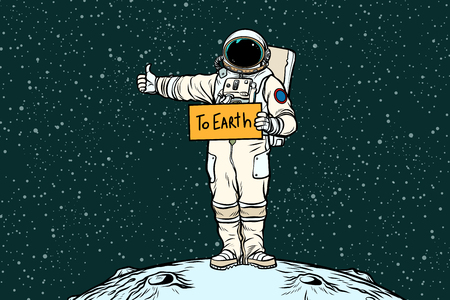 Astronauta jeździ autostopem po Ziemi Ilustracje wektorowe