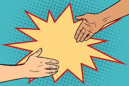 handshake African and Caucasian. Pop art retro vector illustration.