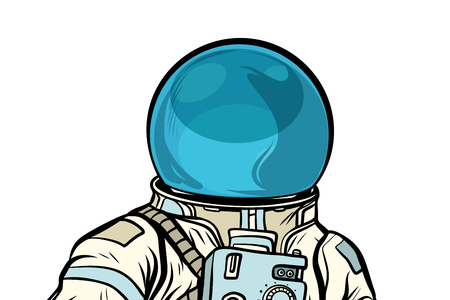 Portrait of astronaut helmet isolated on white background. Pop art retro vector illustration Illustration
