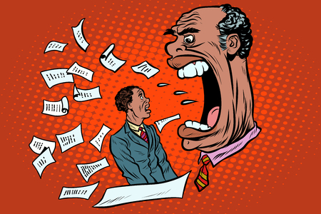 African boss yells at a subordinate. work and business. Pop art retro vector illustration Stock Photo