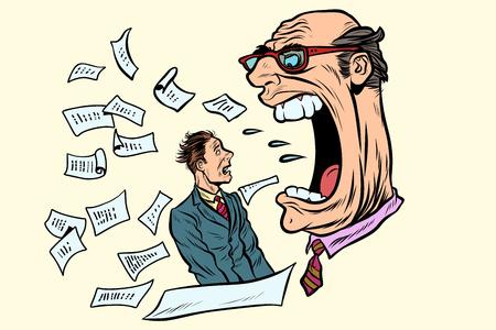 Il capo urla a un subordinato. lavoro e affari. Illustrazione vettoriale retrò pop art Archivio Fotografico - 93315712
