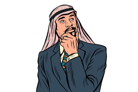 Eastern Arabian businessman isolated on white background Illustration