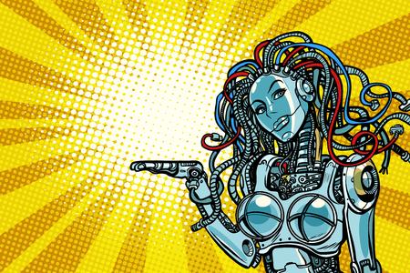아름다운 여자 로봇 발기인. 팝 아트 복고풍 벡터 일러스트 레이션 일러스트