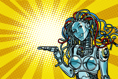 Beautiful woman robot promoter. Pop art retro vector illustration