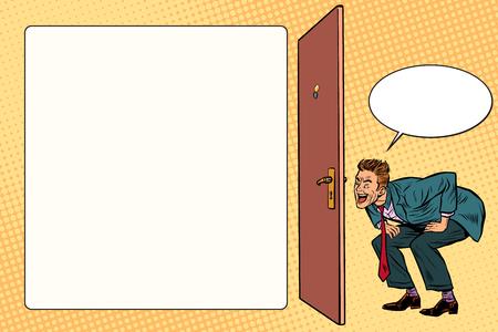 Mann guckt im Schlüsselloch . Pop-Art Retro-Vektor-Illustration Standard-Bild - 93737815