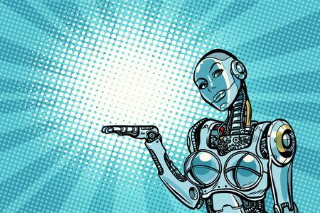 Mooie vrouw robot presenteert. Popart retro vectorillustratie