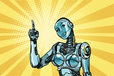 Beautiful woman robot indicates. Pop art retro vector illustration