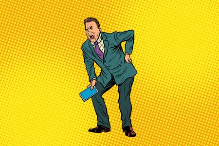 Männliches Rückenschmerzen . Medizin und Gesundheit . Pop-Art Retro-Vektor-Illustration Standard-Bild - 93735739