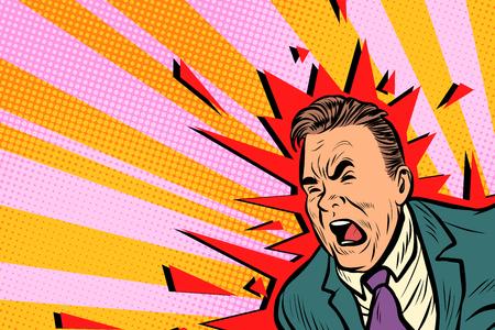 Severe headache male. Pop art retro vector illustration Stock Photo