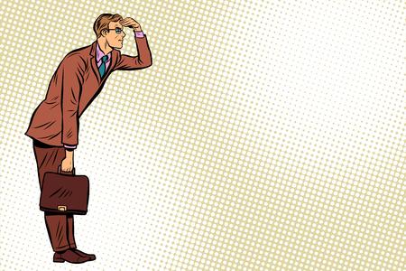 Businessman looking forward, watch. Pop art retro vector illustration Stock Photo