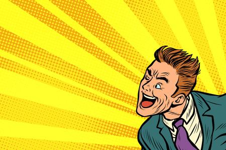 Funny joyful pop art man retro vector illustration