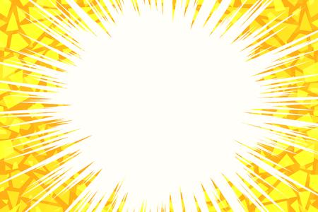 黄色の光の背景が割れました。ポップアートレトロベクトルイラスト