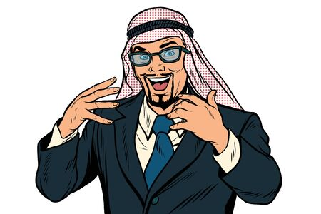 Arab businessman isolated on white background. Pop art retro vector illustration Фото со стока