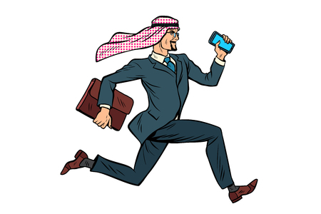 Running Arab businessman isolated on white background. Pop art retro vector illustration Фото со стока