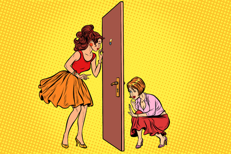 Two women spy on each other through the door Çizim
