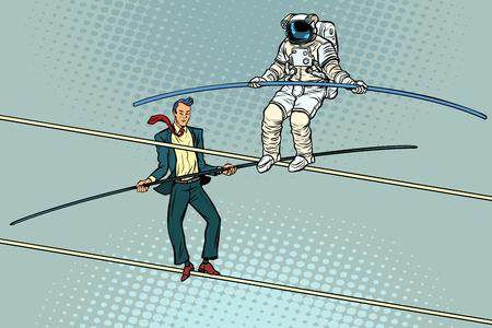 タイトロープウォーカーアクロバットビジネスマンと宇宙飛行士