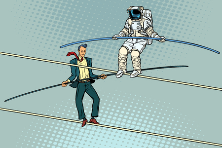 tightrope walkers acrobats businessman and astronaut Illustration
