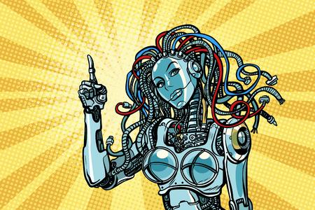 female robot indicates Ilustrace