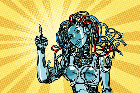 female robot indicates Banco de Imagens - 93768598