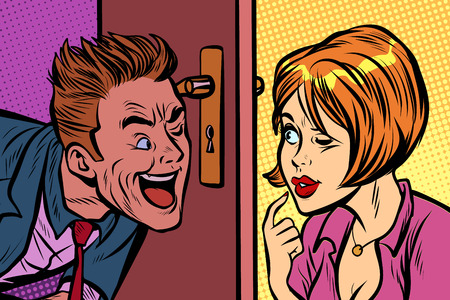 Man and woman spy on each other through the keyhole