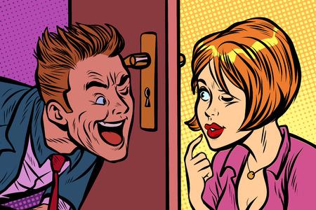 Homem e mulher espionam um ao outro através do buraco da fechadura Foto de archivo - 93768599