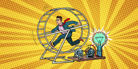 businessman in a squirrel wheel. Pop art retro comic book vector illustration Illustration