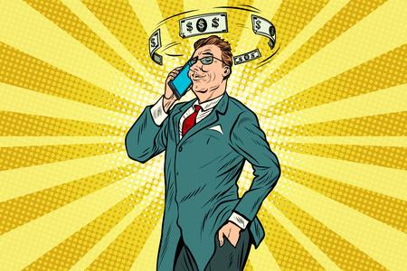 Businessman talking on the phone about finances. Pop art retro vector illustration
