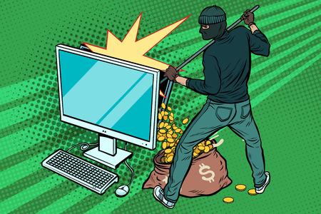 Pirata informático en línea roba dinero en dólares de la computadora. Ilustración de vector retro del arte pop