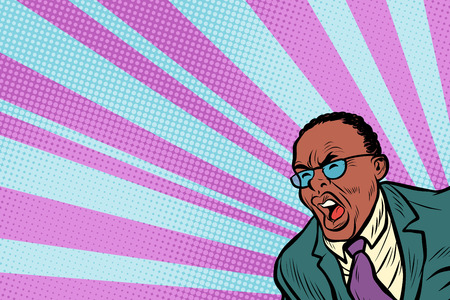 Pop art man shouting. African American people. Pop art retro vector illustration