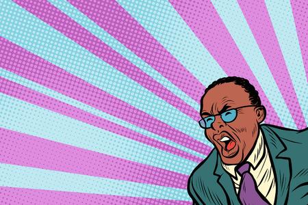 Pop art man shouting. African American people. Pop art retro vector illustration