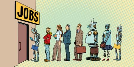 concurrentie van mensen en robots voor banen. technologische revolutie. Werkloosheid in de digitale wereld. Popart retro vectorillustratie