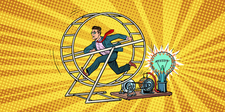 businessman in a squirrel wheel. Pop art retro comic book vector illustration Standard-Bild