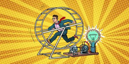 Uomo d'affari in una ruota di scoiattolo. Retro illustrazione di vettore del libro di fumetti di Pop art Archivio Fotografico - 93852335
