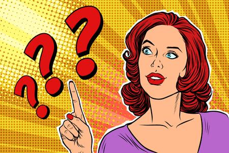 question mark pop art woman Illustration
