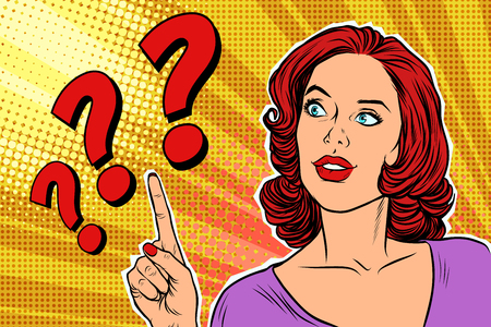 question mark pop art woman Vettoriali