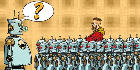 Toekomst. De keuze tussen robots en mensen. De oorspronkelijke man. Popart retro vector illustratie tekening Stockfoto - 94197983