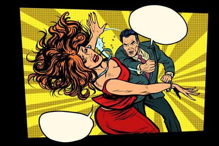 Fight, man hits woman. Domestic violence. Crime. Pop art retro vector illustration drawing