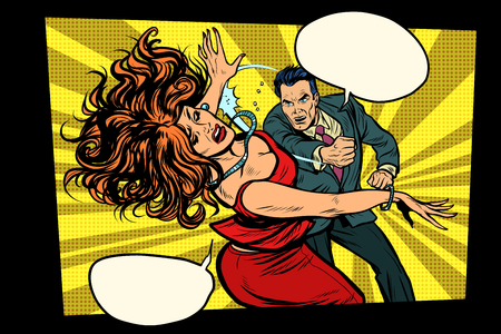 Fight, man hits woman. Domestic violence. Crime. Pop art retro vector illustration drawing