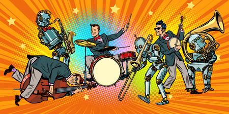 Jazz rock n roll band of humans and robots. Pop art retro vector illustration comic cartoon hand drawing. Illustration