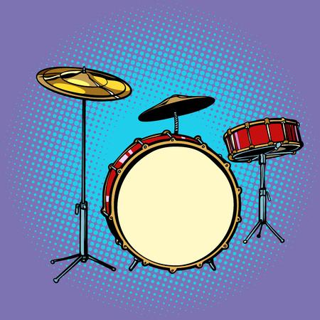Drum set musical instrument. Pop art retro vector illustration comic cartoon hand drawing.