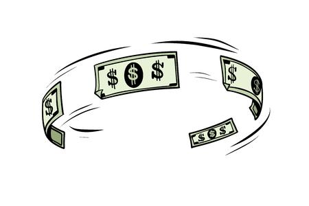The circulation of money, dollars cash. Pop art retro vector illustration.
