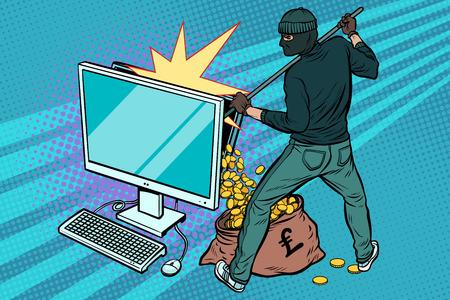 Online hacker steelt pondgeld van de computer. Popart retro vectorillustratie.