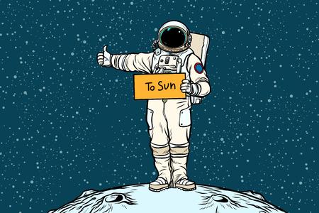 우주 비행사 히치하이커가 태양에 탄다. 팝 아트 복고풍 벡터 일러스트 레이 션.